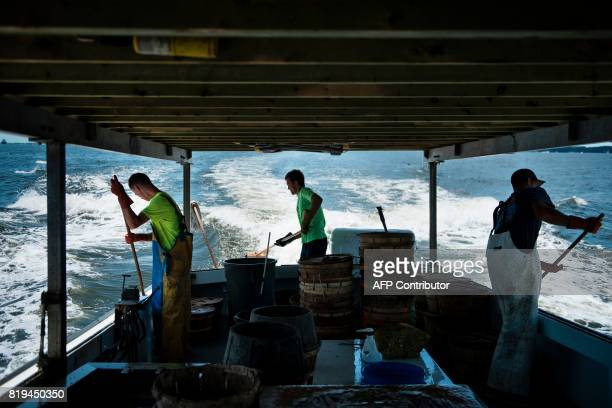Griffin Gardner Brady Loveless and Ben Byers clean the boat after crabbing on the Chesapeake Bay June 28 2017 in Annapolis Maryland A unique...