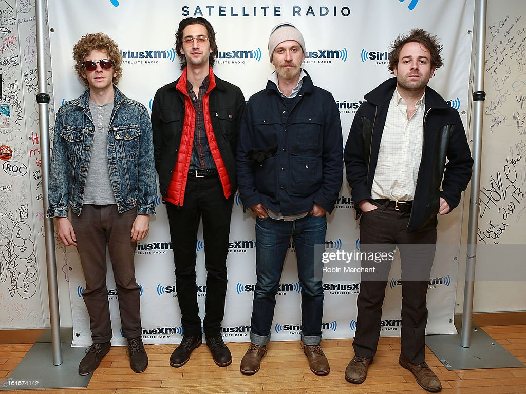 Griffin Goldsmith, Wylie Gelber, Tay Strathairn and Taylor Goldsmith of Dawes visit at SiriusXM Studios on March 25, 2013 in New York City.