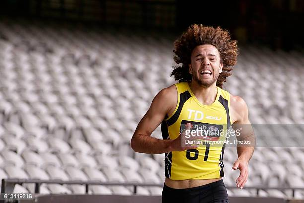 Griffin Logue runs the 3km time trial during the AFL Draft Combine on October 9 2016 in Melbourne Australia
