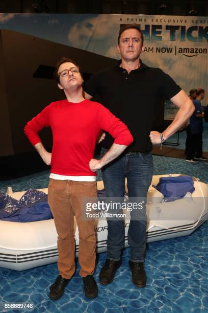 Griffin Newman and Peter Serafinowicz attend Amazon Prime Video's The Tick New York Comic Con 2017 Panel at The Jacob K Javits Convention Center on...