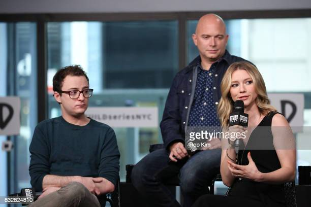 Griffin Newman Michael Cerveris and Valorie Curry of 'The Tick' visit at Build Studio on August 16 2017 in New York City