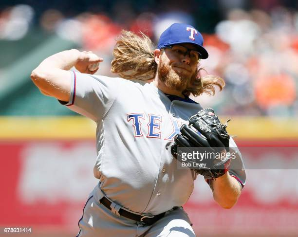 J Griffin of the Texas Rangers pitches in the first inning against the Houston Astros at Minute Maid Park on May 4 2017 in Houston Texas