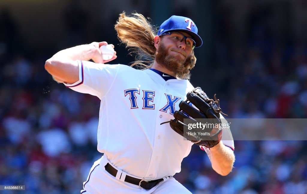 A.J. Griffin #64 of the Texas Rangers pitches in the first inning against the New York Yankees at Globe Life Park in Arlington on September 10, 2017 in Arlington, Texas.