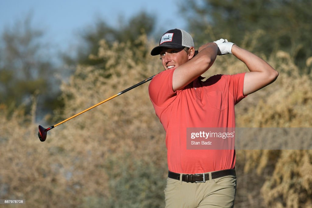 J.T. Griffin plays a tee shot on the ninth hole during the first round of the Web.com Tour Qualifying Tournament at Whirlwind Golf Club on the Devil's Claw course on December 7, 2017 in Chandler, Arizona.