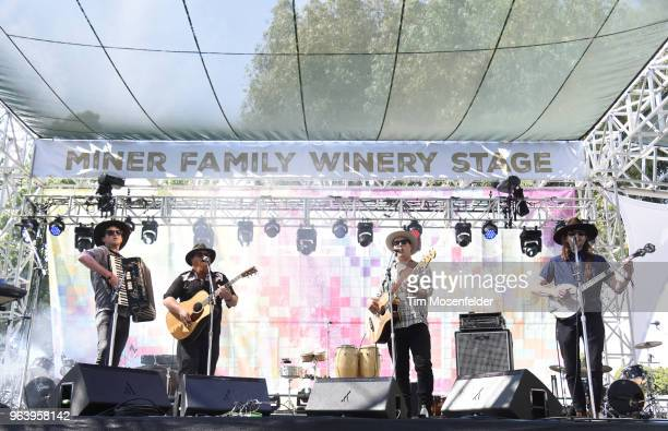 Griffin Sherry Sean McCarthy and Max Davis of The Ghost of Paul Revere performs during the 2018 BottleRock Napa Valley at Napa Valley Expo on May 26...