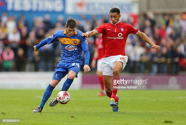 Griffith Grant of Shrewsbury Town and Lewis Montrose of York City