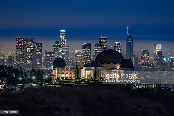 Griffith Observatory And Downtown Los Angeles Skyline At Night