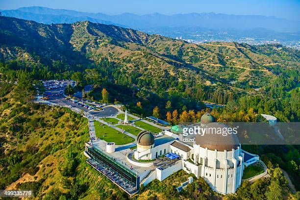 griffith observatory, mount hollywood, los angeles, ca - aerial view - hollywood kalifornien bildbanksfoton och bilder