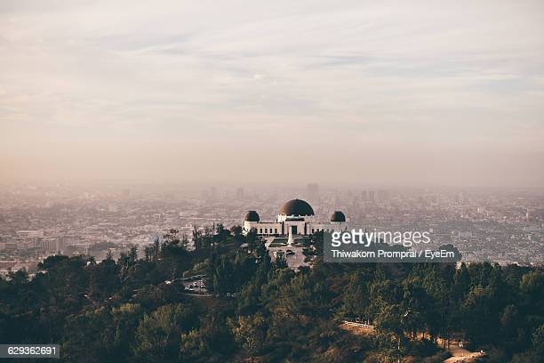Griffith Observatory Over City Against Sky