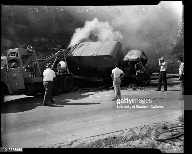Griffith Park brush fire 18 June 1957 Truck that started fireboys fighting fireJohn Riley 13 yearsFloyd MeyersBob MathieTom HolbrookJoann...