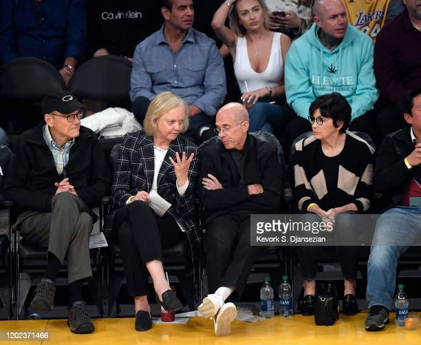 Griffith Rutherford Harsh IV Meg Whitman CEO of Quibi Jeffrey Katzenberg founder of Quibi and Marilyn Katzenberg attend the Los Angeles Lakers and...