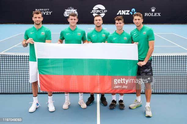 Grigor Dimitrov Alexandar Lazarov Dimitar Kuzmanov Alexander Donski and Adrian Andreev of Team Bulgaria pose at ATP Cup media day ahead of the 2020...