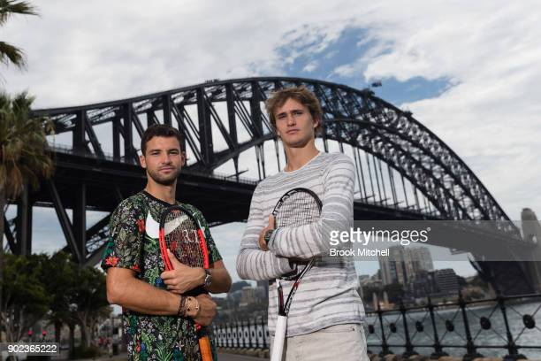 Grigor Dimitrov and Alex Zverev pose for a photo during the Sydney Fast4 Media Opportunity at Hickson Road Reserve on January 8 2018 in Sydney...