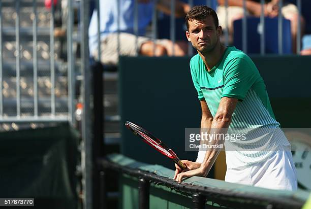 Grigor Dimitrov of Bulgaria against Federico Delbonis of Argentina in their second round match during the Miami Open Presented by Itau at Crandon...