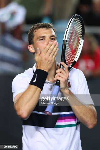 Grigor Dimitrov of Bulgaria celebeates winning in his second round match against Pablo Cuevas of Uruguayduring day three of the 2019 Australian Open...