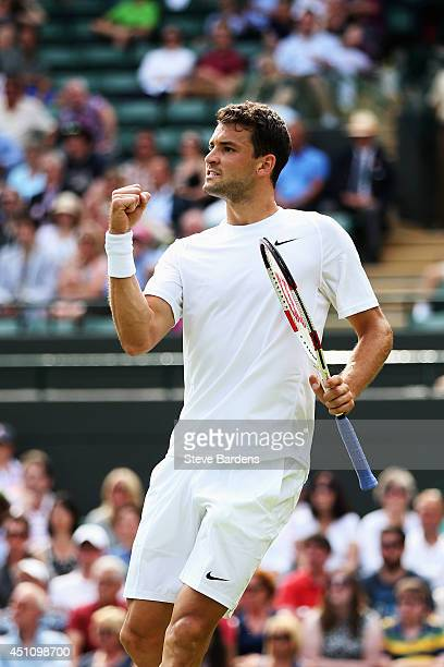 Grigor Dimitrov of Bulgaria celebrates a point during his Gentlemen's Singles first round match against Ryan Harrison of the United States of Austria...