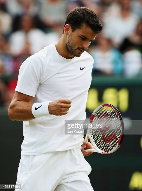Grigor Dimitrov of Bulgaria celebrates a point during his Gentlemen's Singles third round match against Alexandr Dolgopolov of Ukraine on day five of...