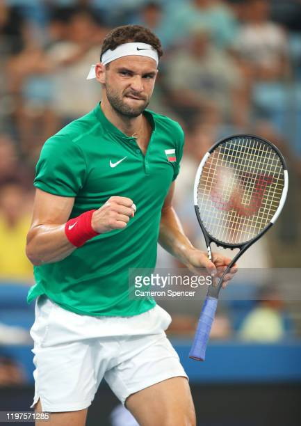 Grigor Dimitrov of Bulgaria celebrates a point during his Group C singles match against Radu Albot of Moldova during day three of the 2020 ATP Cup...