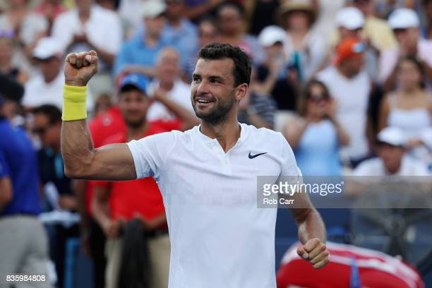 Grigor Dimitrov of Bulgaria celebrates after defeating Nick Kyrgios of Australia to win the men's final during Day 9 of of the Western and Southern...