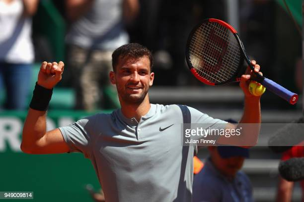 Grigor Dimitrov of Bulgaria celebrates after his singles match against David Goffin of Belgium during say six of ATP Masters Series Monte Carlo Rolex...