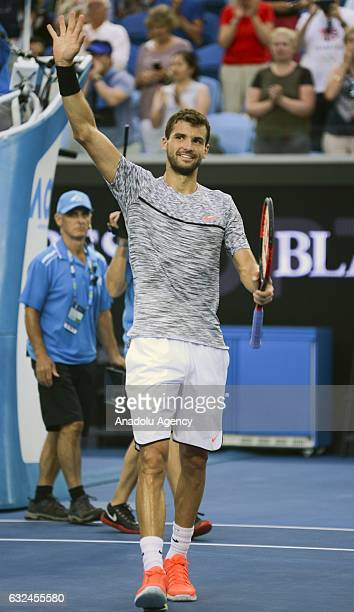 Grigor Dimitrov of Bulgaria celebrates after winning his men's singles match against Denis Istomin of Uzbekistan during the 2017 Australian Open at...