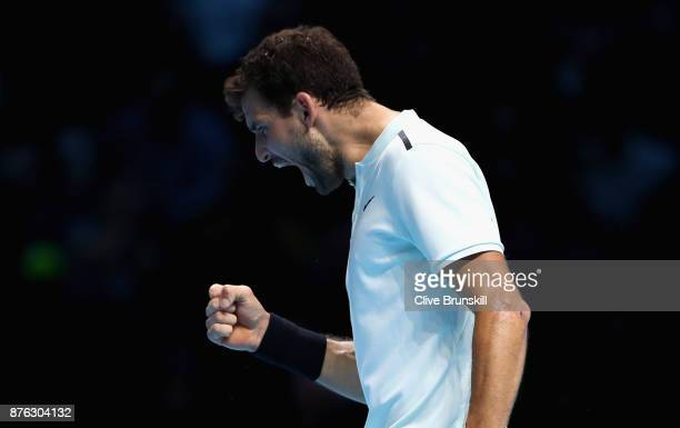 Grigor Dimitrov of Bulgaria celebrates after winning the 1st set during the singles final against David Goffin of Belgium during day eight of the...