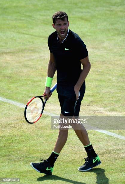 Grigor Dimitrov of Bulgaria celebrates during the mens singles second round match against Julien Benneteau of France on day three of the 2017 Aegon...