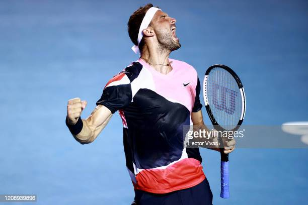 Grigor Dimitrov of Bulgaria celebrates during the singles match against Adrian Mannarino of France during the ATP Mexican Open 2020 Day 3 on February...