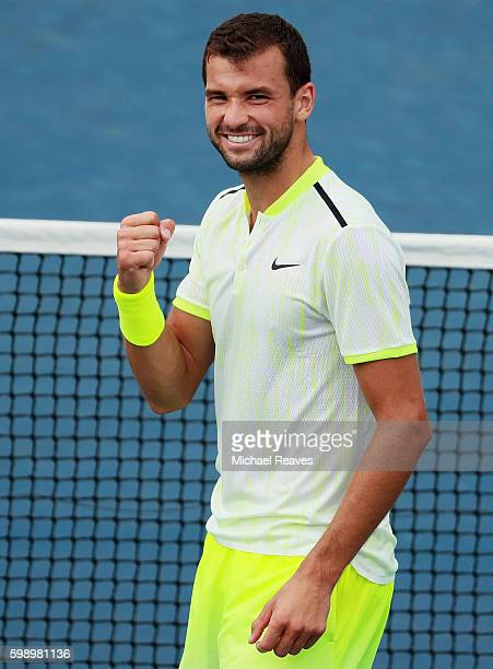 Grigor Dimitrov of Bulgaria celebrates his win over Joao Sousa of Portugal during his third round Men's Singles match on Day Six of the 2016 US Open...