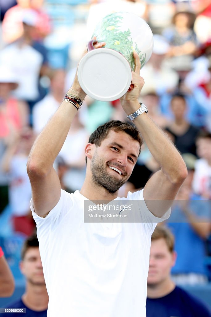 Grigor Dimitrov of Bulgaria celebrates his win over Nick Kyrgios of Australia during the men's final on day 9 of the Western & Southern Open at the Lindner Family Tennis Center on August 20, 2017 in Mason, Ohio.