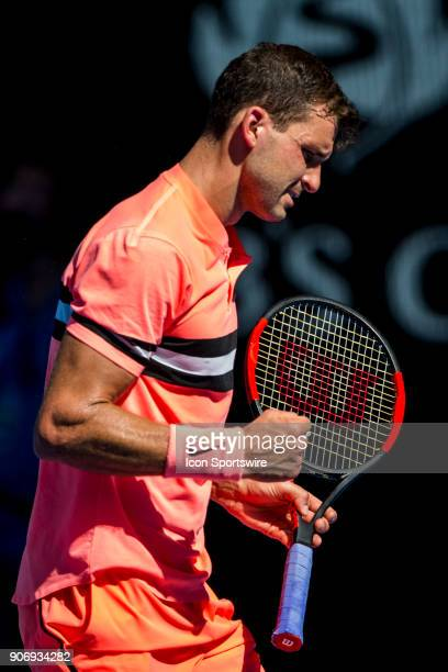 Grigor Dimitrov of Bulgaria celebrates in his third round match during the 2018 Australian Open on January 19 at Melbourne Park Tennis Centre in...