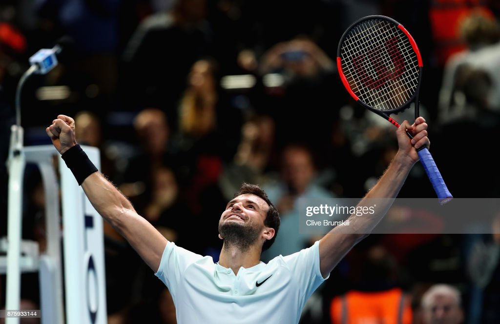 Grigor Dimitrov of Bulgaria celebrates to the crowd after his three set victory against Jack Sock of the United States in their semi final match at the Nitto ATP World Tour Finals at O2 Arena on November 18, 2017 in London, England.