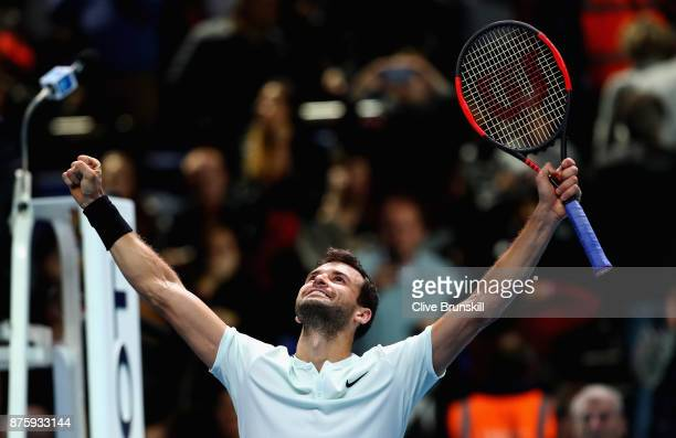 Grigor Dimitrov of Bulgaria celebrates to the crowd after his three set victory against Jack Sock of the United States in their semi final match at...