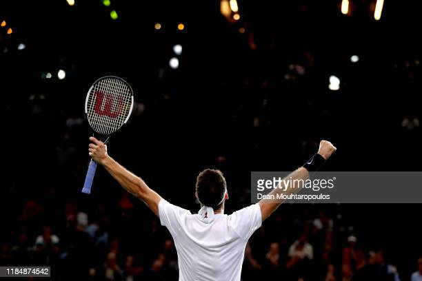 Grigor Dimitrov of Bulgaria celebrates victory after his match against Cristian Garin of Chile on day 5 of the Rolex Paris Masters, part of the ATP...