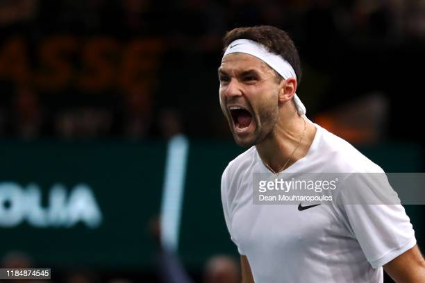 Grigor Dimitrov of Bulgaria celebrates victory after his match against Cristian Garin of Chile on day 5 of the Rolex Paris Masters part of the ATP...