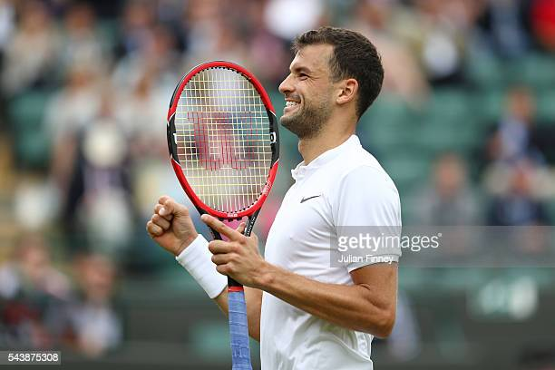 Grigor Dimitrov of Bulgaria celebrates victory during the Men's Singles second round match against Gilles Simon of France on day four of the...