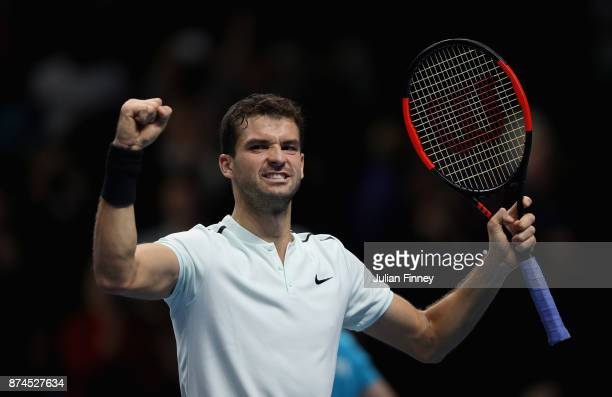 Grigor Dimitrov of Bulgaria celebrates victory during the singles match against David Goffin of Belgium on day four of the 2017 Nitto ATP World Tour...