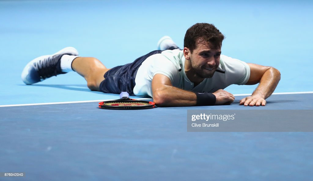 Grigor Dimitrov of Bulgaria celebrates victory following the singles final against David Goffin of Belgium during day eight of the 2017 Nitto ATP World Tour Finals at O2 Arena on November 19, 2017 in London, England.