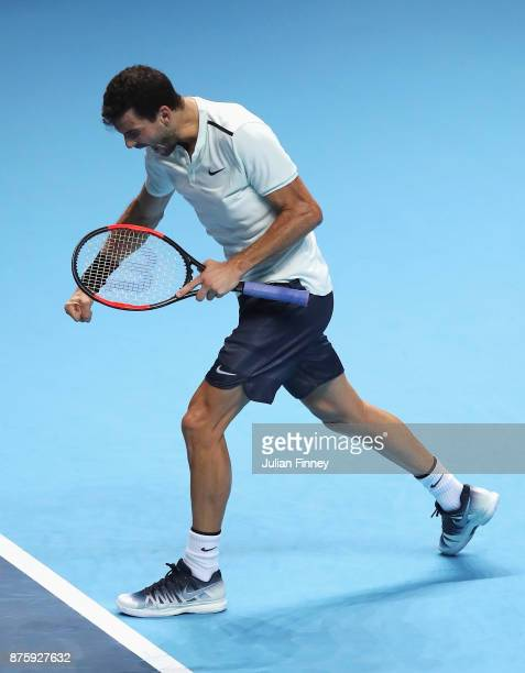 Grigor Dimitrov of Bulgaria celebrates victory in his Singles Semi Final match against Jack Sock of the United States during day seven of the Nitto...