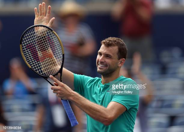 Grigor Dimitrov of Bulgaria celebrates victory over Frances Tiafoe of the United States following a 3rd round match on Day 4 of the Rogers Cup at...