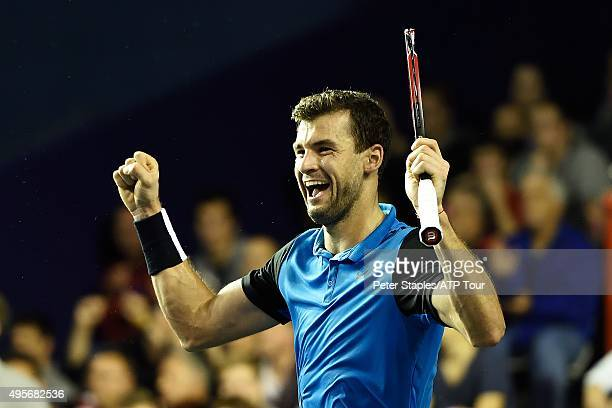 Grigor Dimitrov of Bulgaria celebrates win over Marin Cilic of Croatia at the BNP Paribas Masters at Palais Omnisports de Bercy on November 4 2015 in...