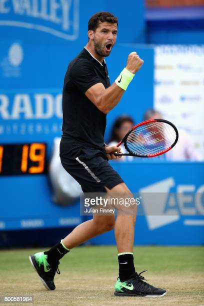 Grigor Dimitrov of Bulgaria celebrates winning a break point during the mens singles semifinal match against Feliciano Lopez of Spain on day six of...