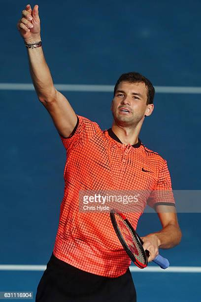 Grigor Dimitrov of Bulgaria celebrates winning against Milos Raonic of Canada during their semi final match during day seven of the 2017 Brisbane...