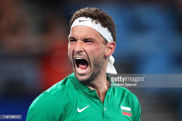Grigor Dimitrov of Bulgaria celebrates winning his Group C singles match against Daniel Evans of Great Britain during day one of the 2020 ATP Cup...