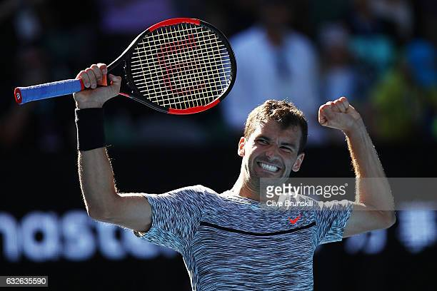 Grigor Dimitrov of Bulgaria celebrates winning his quarterfinal match against David Goffin of Belgium on day 10 of the 2017 Australian Open at...