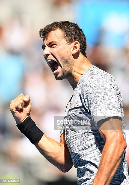 Grigor Dimitrov of Bulgaria celebrates winning his second round match against Hyeon Chung of Korea on day four of the 2017 Australian Open at...