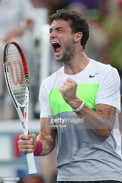 Grigor Dimitrov of Bulgaria celebrates winning his semi final match against Marcos Baghdatis of Cyprus on day seven of the Brisbane International at...