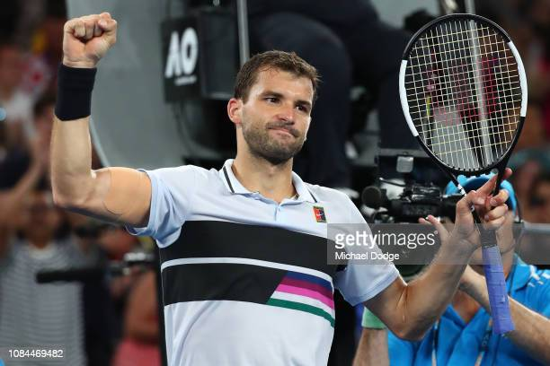 Grigor Dimitrov of Bulgaria celebrates winning his third round match against Thomas Fabbiano of Italy during day five of the 2019 Australian Open at...
