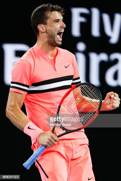 Grigor Dimitrov of Bulgaria celebrates winning in his fourth round match against Nick Kyrgios of Australia on day seven of the 2018 Australian Open...