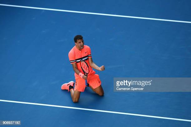 Grigor Dimitrov of Bulgaria celebrates winning match point in his third round match against Andrey Rublev of Russia on day five of the 2018...